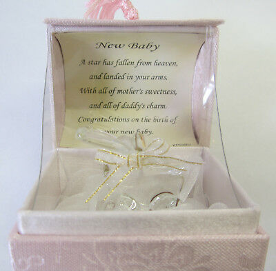 Hand Sculpted Glass Pram New Baby Girl In Display Box 22kt Gold & Lovely Verse