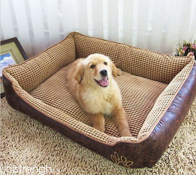 Waterproof PU Leather Dog Bed Sofa Kennel Washable Soft Pet Bed+Gift(dog leash)