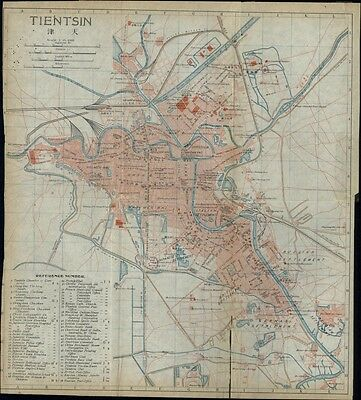 Tientsin China city plan 1915 scarce detailed color folding map