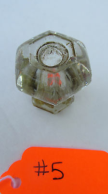 "Antique Clear Glass Cabinet Door Knob Pull Hardware 1"" Six Sided"