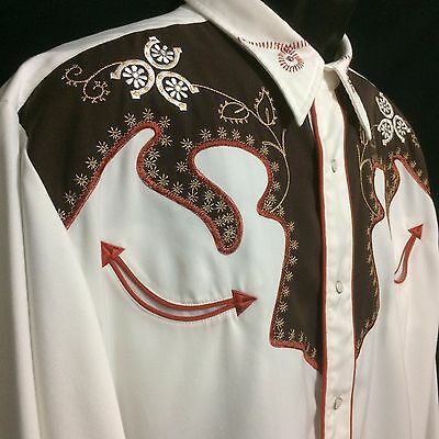 Denver Roper Western Shirt White Brown Embroidered Front LS Pearl Snaps Mens XL