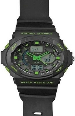 Dakota Watch Features tough black plastic casing and bezel with lime green accen