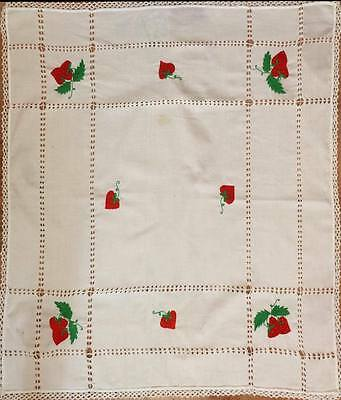 Nice Tablecloth with Strawberry Design, handmade embroidered & crocheted