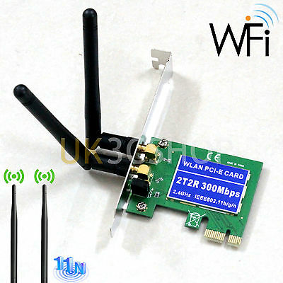 300Mbps Wireless PCI-E WiFi Network Adapter LAN Card for Desktop PC + 2 Antennas