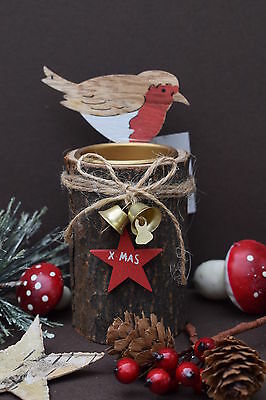 Rustic Wooden Christmas T Light Candle Holder