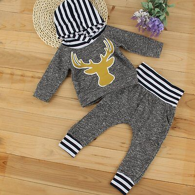 2pcs Newborn Toddler Baby Boy Girl Clothes Hooded T-shirt Tops+Pants Outfits Set
