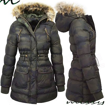 LADIES CAMOUFLAGE PADDED Military HOODED WINTER PARKA WOMENS ARMY COAT JACKET AN