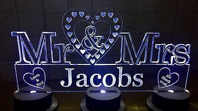 Top Table Mr & Mrs lIght up Wedding Personalised Sign