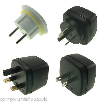 UK 3 Pin to EU US AU Europe Travel Power AC Adapter Plug Wall Converter