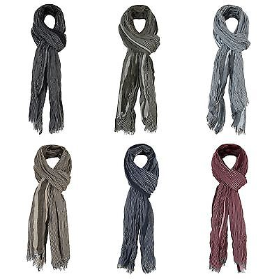Mens Crinkled Stripe Print Scarf Soft Lightweight Wrap Long Scarves Fashion Gift