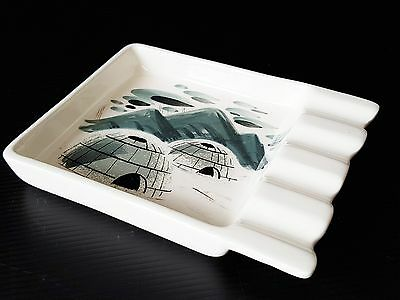 Sascha B. : Cendrier Ceramique A Decor D'igloo 1950 1960 Vintage 50S Ashtray