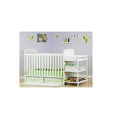 Baby Crib Changing Table Toddler Convertible Bed Nursery Furniture 2 in 1 White