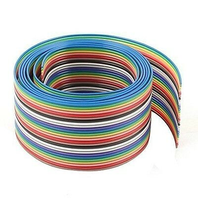Sourcingmap 1.27mm Pitch 26 Way IDC Ribbon Cable Wire Rainbow Color 1.1M 3.6Ft