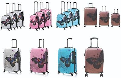 Hard Shell 4 Wheel Spinner Suitcase PC Luggage Trolley Case Cabin Hand Butterfly