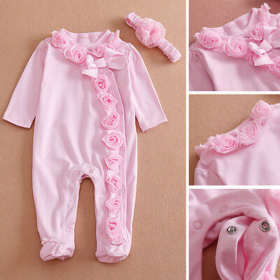 Infant Baby Girls Lace Rose Flower Romper Jumpsuit Bodysuit Outfits Pink Sunsuit