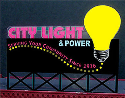 City Light & Power Animated Billboard Sign for N HO Scale Miller 9282