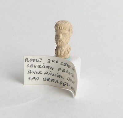 Ancient Roman Egypt bone Finial Bust of a Man c.3rd century AD.