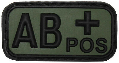 AB POS 3D Klettabzeichen Blood Type Blutgruppe Army Military patch OD Green oliv