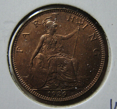 1929 Great Britain Farthing Unc Coin