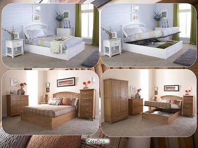 New Modern Solid Wood 4FT6 Double 5FT Kingsize Ottoman Storage Bed - Oak - White