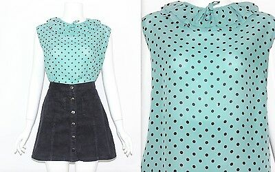 Vintage 80's Green Black POLKA DOT PATTERNED FRILL COLLAR SLEEVELESS Top Size M