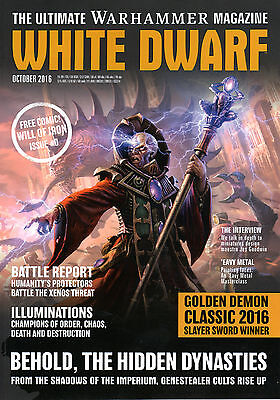 """NEW White Dwarf Monthly Mag October 2016 + GAMES WORKSHOP """"Will Of Iron"""" Comic"""