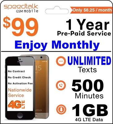 1 Year Prepaid Wireless 500 Plan - No Contract 12 Months Package GSM SIM Card