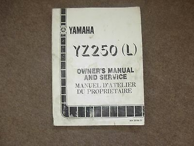 Yamaha YZ250 L Motorcycle Owner's Service Manual , mid 1980's