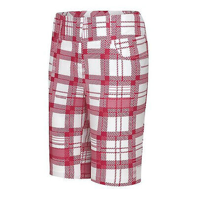 adidas golf ladies checked shorts white/punch(red/pink)