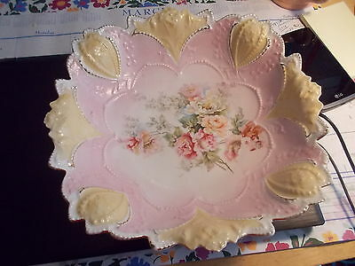"""Early R S Prussia 11"""" Square - Pink & Yellow w/Floral Center"""