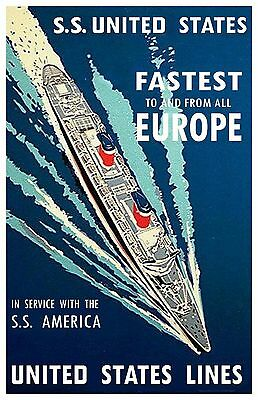 S.S. United States & S.S. America, United States Lines   11 x 17 poster