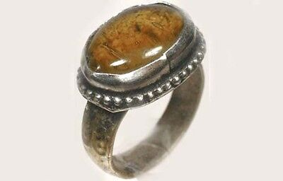 "18thC Antique Crimean Russian Tatar Silver Ring Glass ""Amber Gemstone"" Size 8"