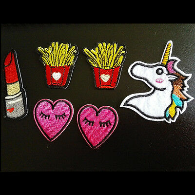 2pcs Handmade Cartoon Embroidery Iron on Patch Sewing Applique Motif Craft Gift