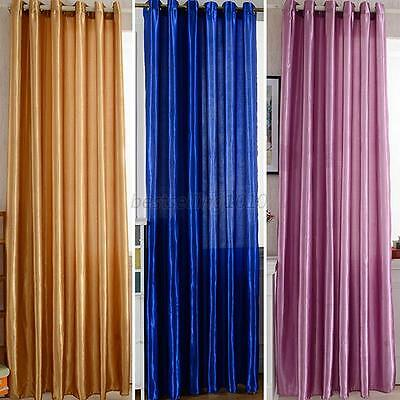 1Pcs New Panel Thermal Insulated Solid Blackout Window Curtains Drapes Grommet