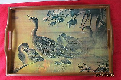 Wood Ottoman/ Serving Tray With Handles Duck Design