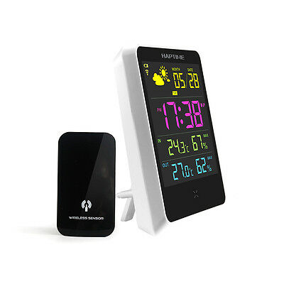 Indoor Outdoor LCD Wireless Weather Station Alarm Clock Snooze Forecast Calendar