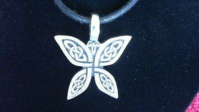 Celtic Knotwork Butterfly Pendant Charm Necklace! New Made in USA Irish Welsh