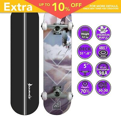 "BLACKHAWK 31x7.5"" 9Ply Premium Maple Deck ABEC-7 Trick Skateboard Complete Set"
