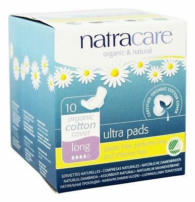 Natracare Organic Cotton Cover Ultra Long Pads With Wings 10 Count (Pack of 3)