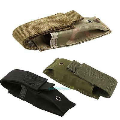 Tactical Military Single Pistol Magazine Pouch Flashlight Knife Sheath Holster