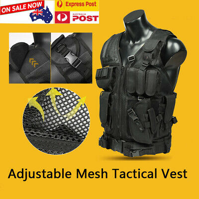 Adjustable Military Mesh Tactical Vest Paintball MOLLE Airsoft Combat SWATSummer