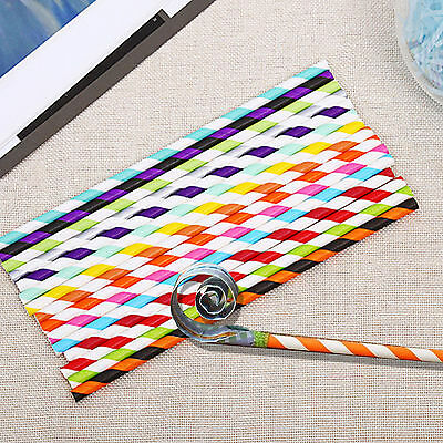 25/50/100Pcs Biodegradable Paper Drinking Water Straws Birthday Wedding Party