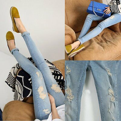 New Women Maternity Pants Over Bump Denim Jeans Ripped Holes Pregnant Trousers
