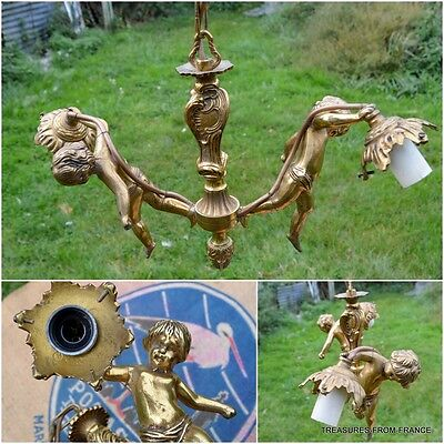 French antique bronze CHERUB light fitting chandelier re wired 110-240v 15""