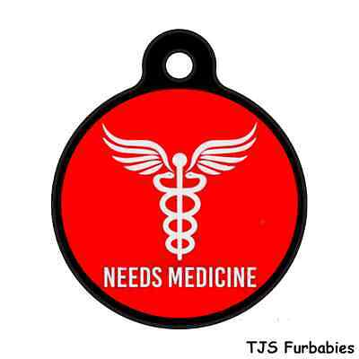 Needs Medicine Medical Alert-Custom Personalized Pet ID Tag for Dog /Cat Collars