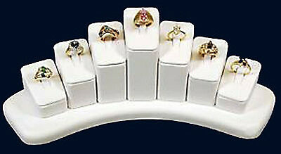 7 RING JEWELRY DISPLAY white leather SHOWCASE DISPLAYS