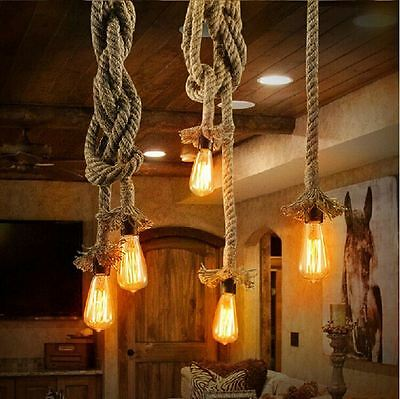 Rustic Jute Rope Covered Hanging Light Pendant Ceiling Lamp