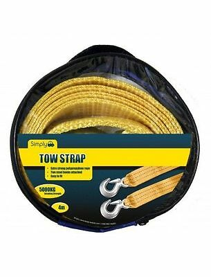 CAR TOW Rope Strap Heavy Duty 5000KG 4M Road Recovery Emergency Towing Essential