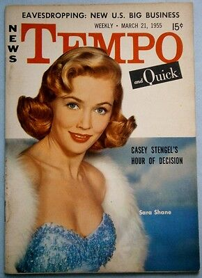 March 1955 TEMPO Magazine with Sara Shane & Sophia Loren Covers