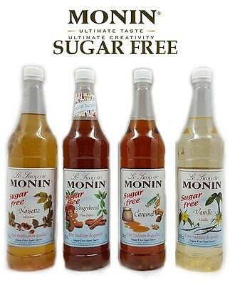 Monin Coffee Syrups SUGAR FREE 1 Litre Bottles Set AS USED BY COSTA COFFEE